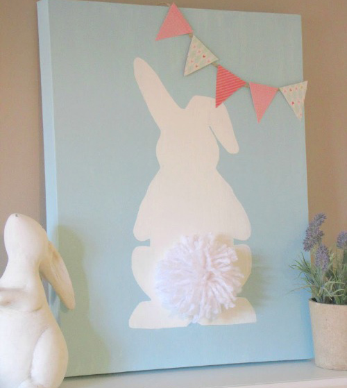DIY bunny wall art canvas, stylish easter craft ideas for kids
