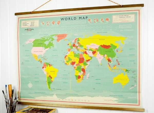 Map out lunchtime fun with vintage world backpacks flasks and finally lark also stocks a reproduction vintage world map they look just like the old canvas ones from school the maps are 6995 each gumiabroncs Choice Image