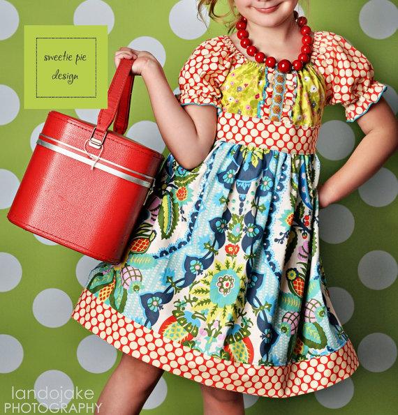 printed spring peasant dress