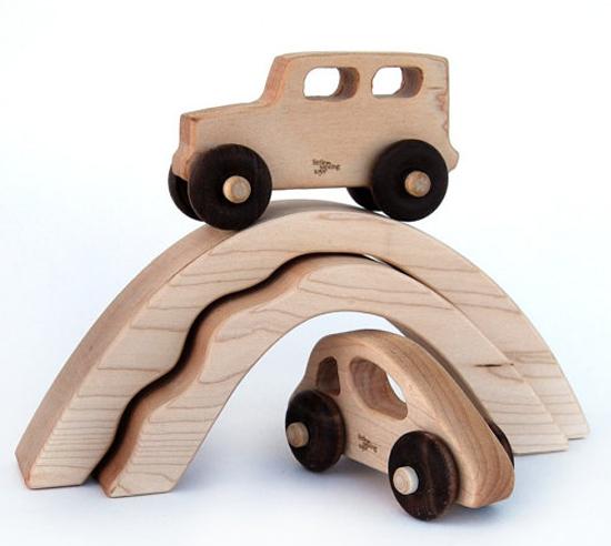 wooden car truck bridge