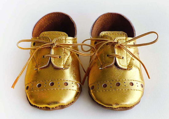 gold leather shoe