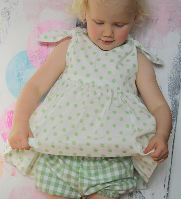 Green spot dress and check bloomers