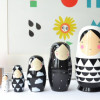 Decorate your nest with monochrome matryoshka dolls