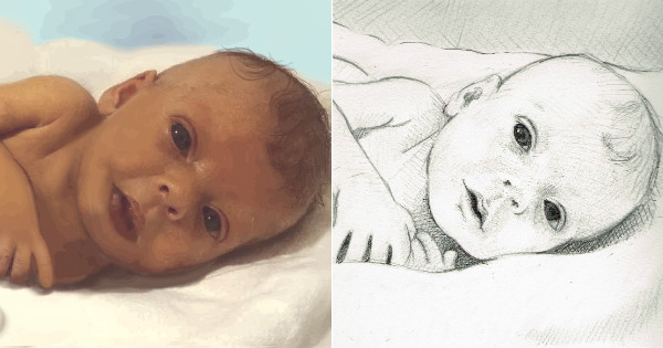 baby Sophia painting and sketch