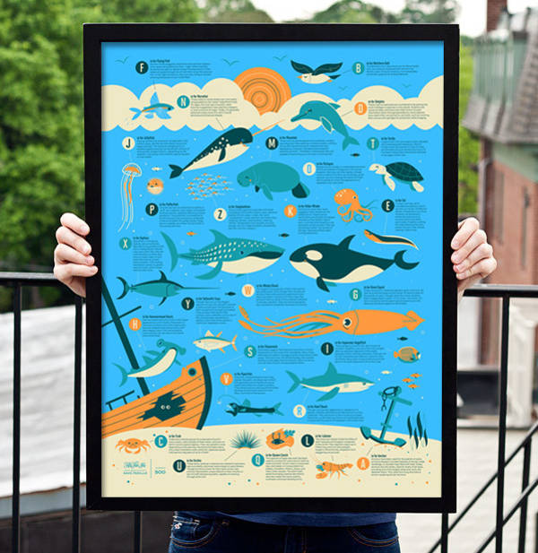 marine animal alphabet poster