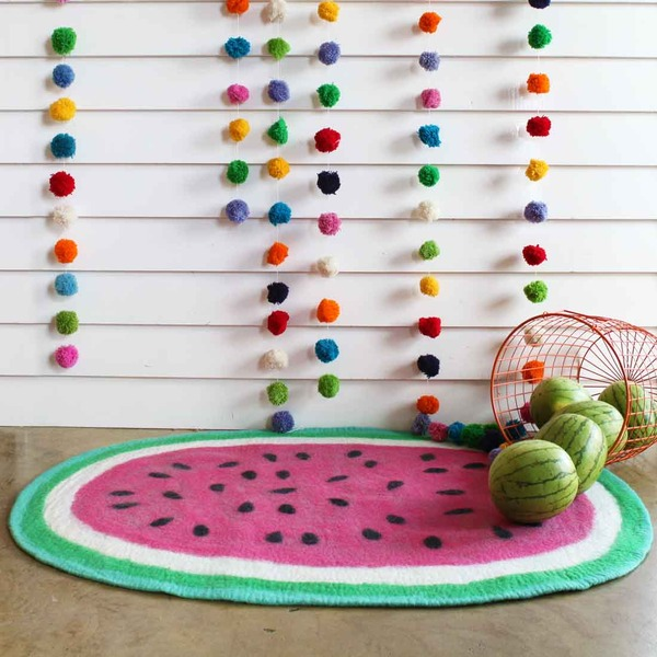 Down to the Woods watermelon rug