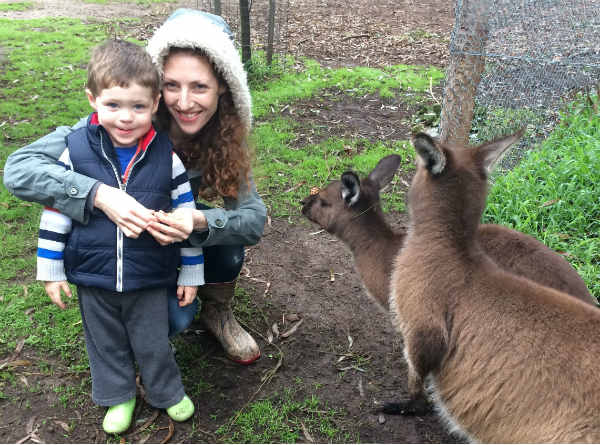 Australian Ballet dancer Laura Tong with son Henry at Healesville Sanctuary