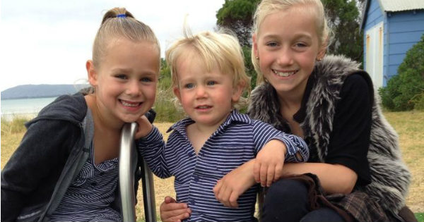 Lachlan with sisters Chloe and Jessica Lever