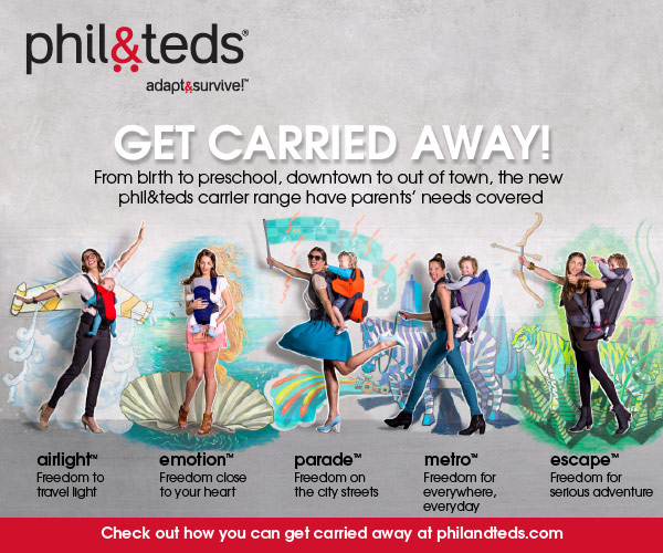 Go ahead, get carried away. Introducing phil&teds new range.