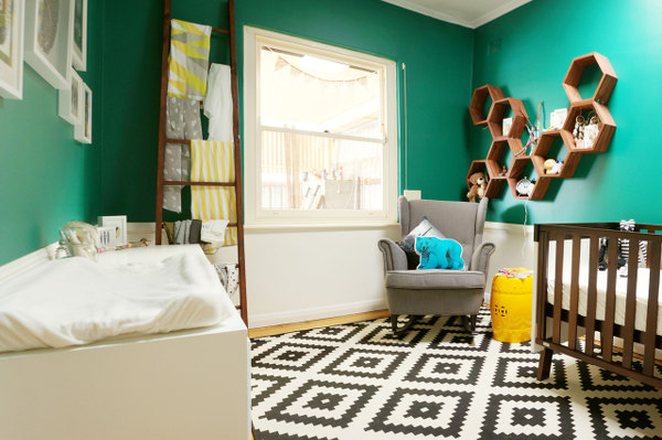 Greysons room updated1280 Show us your nursery   Greysons modern Aztec room