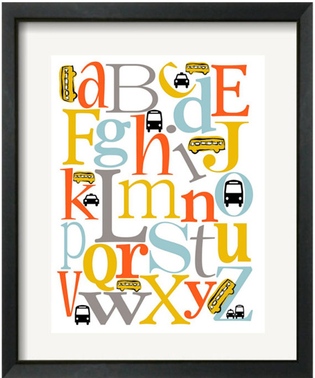 transport abc wall art poster