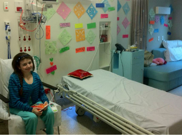 Victoria loving her decorated room