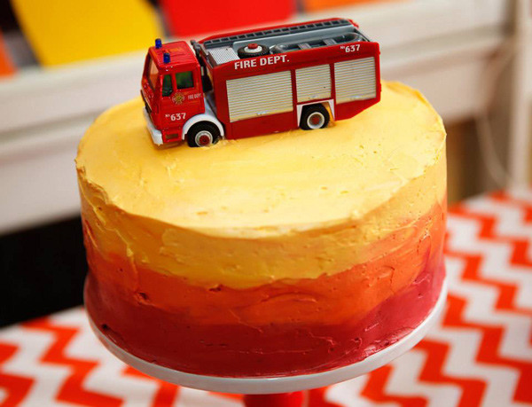 fire engine ombre birthday cake