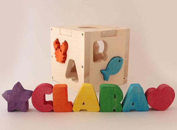 peronalised name shape sorter box