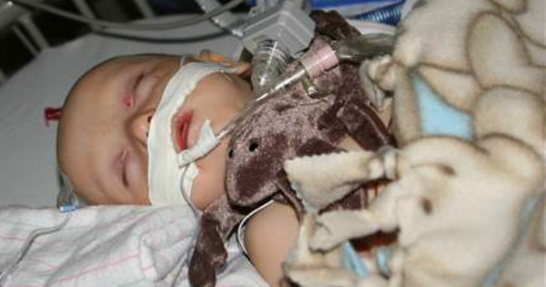 baby Emmett in hospital after swallowing a button battery