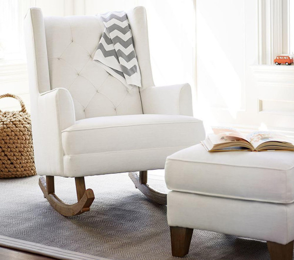 Pottery Barn s Tufted Wingback is a nursery chair that rocks