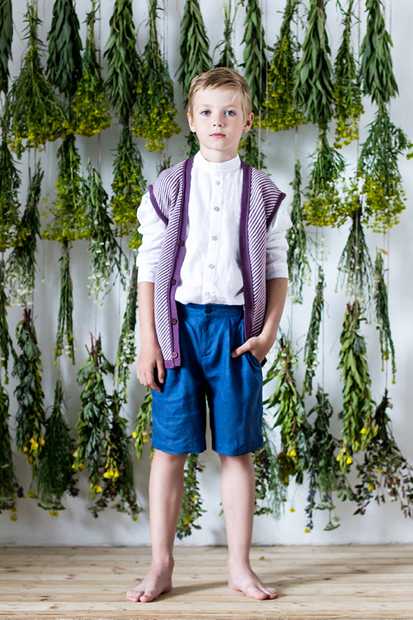 Paade Pleated Linen Shorts Bilberry Blue