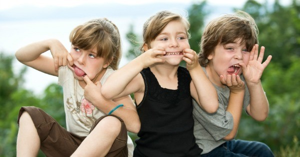 Three kids family one