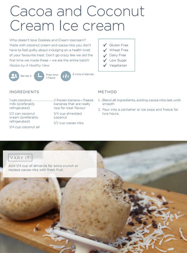 cacoa & coconut icecream