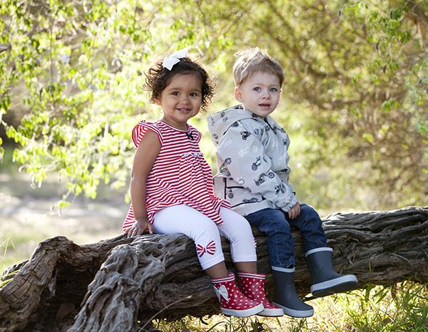 Wellies two kids in tree