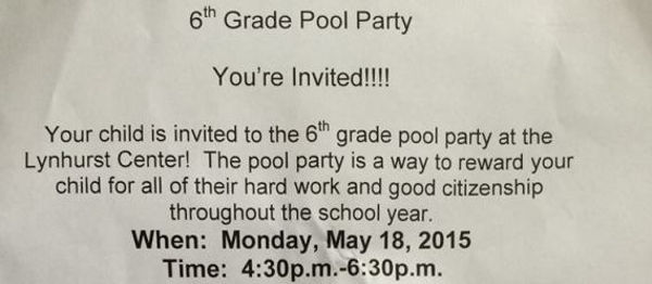 sexist pool party invitation