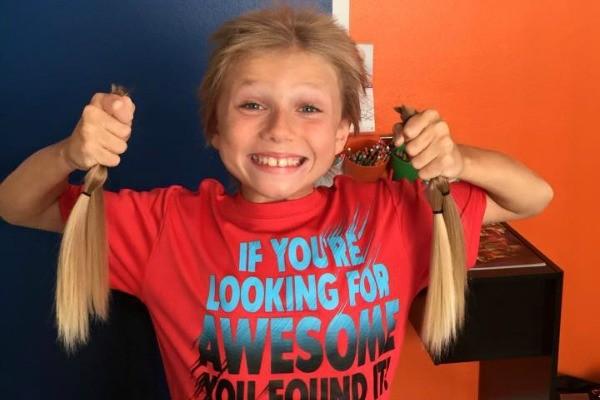 boy donates hair three