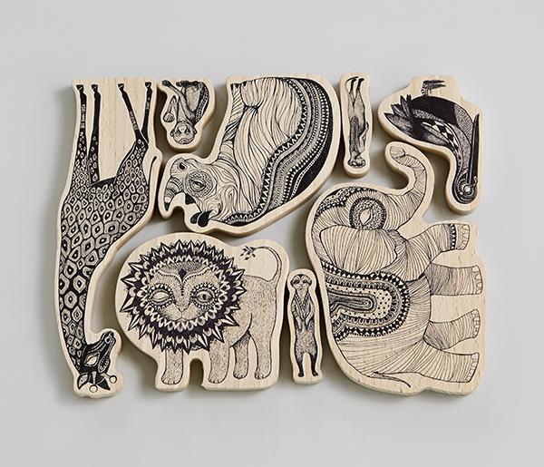 Africa Wood Animals BW