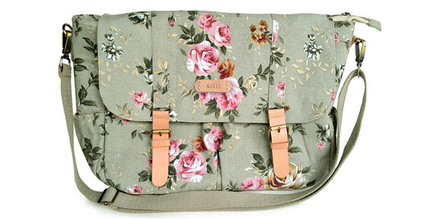 floral canvas nappy bag