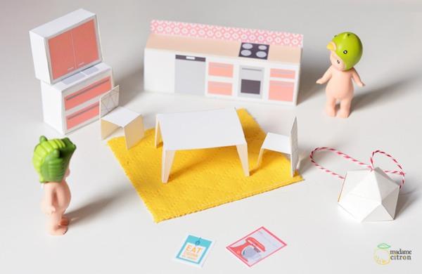 Mrs Citron miniature paper dollhouse furniture