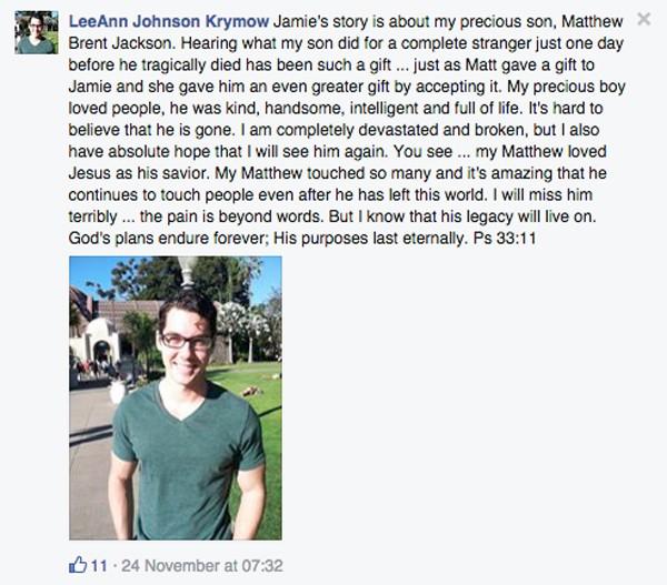 Matthew Jackson's mum's facebook post