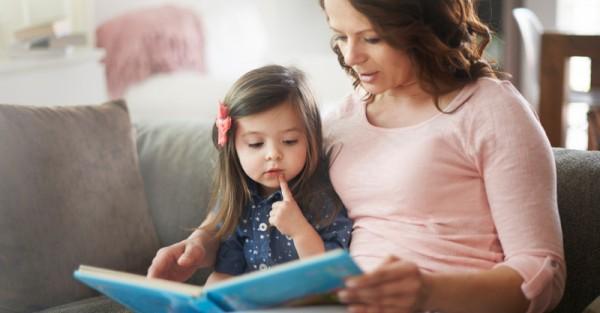 child mum book reading story sl