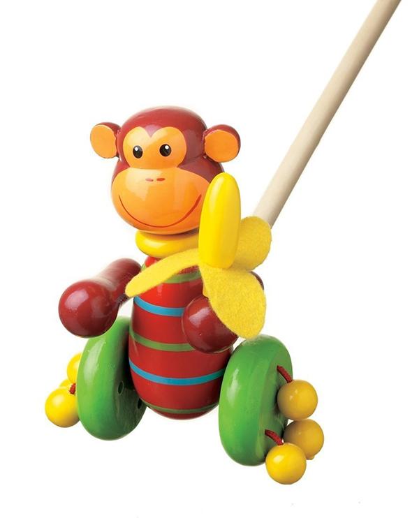 orange tree toys wooden monkey push along toy