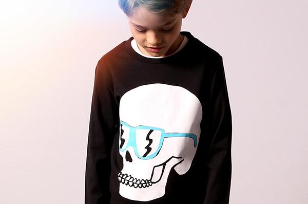 Littlehorn boy skull shirt
