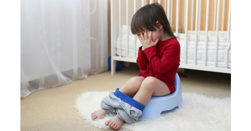 toddler child potty toilet training crying stock sl