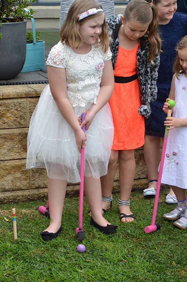 Belle's Alice in Wonderland party croquet