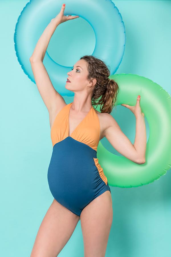 Les Ultraviolettes maternity swimwear color block halter