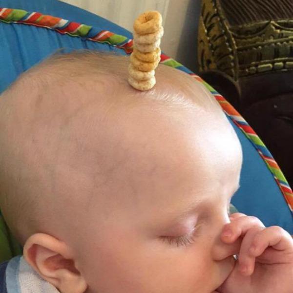 cheerio baby top of head