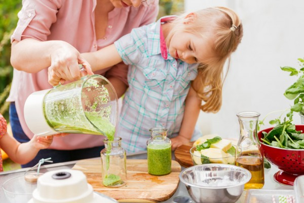 child drink smoothie green sl
