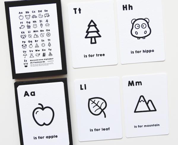 monochrome alphabet cards