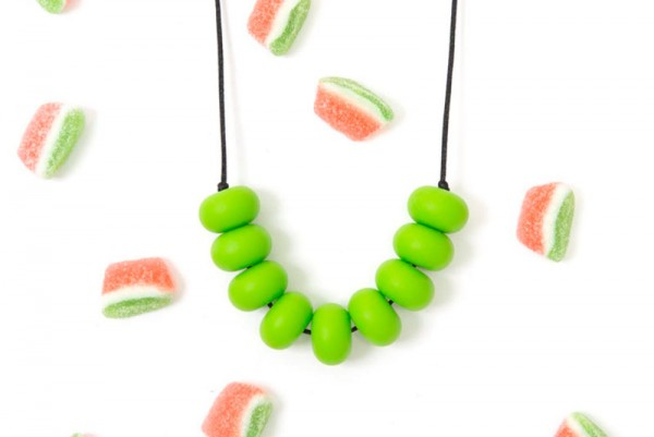 ruby olive green necklace