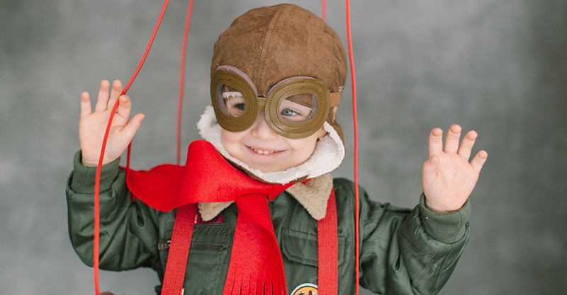 young boy dressed up as hot air ballooner