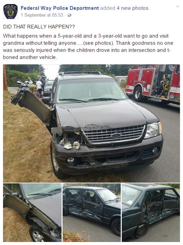 Kids steal car - Federal Way Police FB post