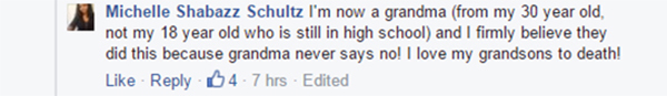 Kids steal car - Michell Shabazz Shultz Fb comment 2