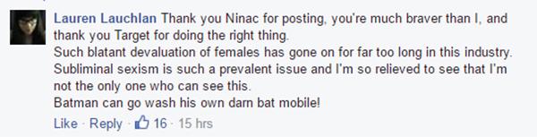 Lauren Lachlan FB comment target tee