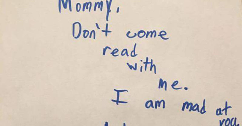 Son's serious(ly funny) note revokes mum's parenting privileges