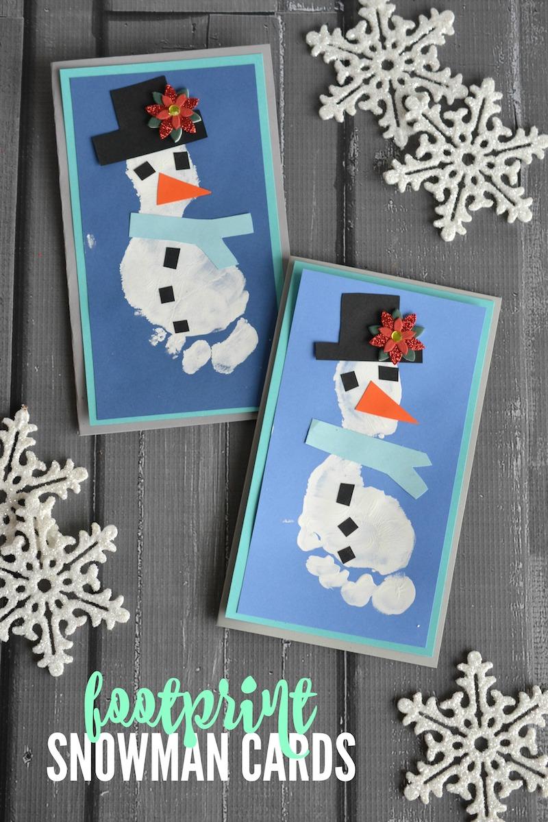 Footprint snowman Christmas cards