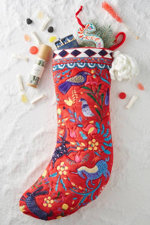 anthropologie velvet stocking