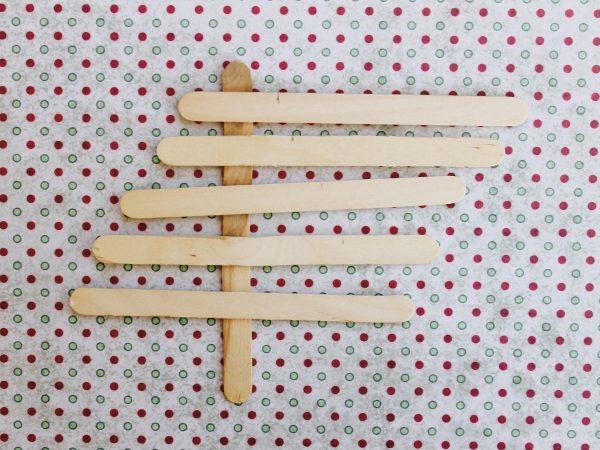 Paddle pop Christmas tree step 1