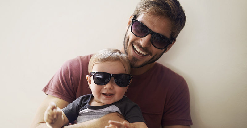 dad and baby wearing sunglasses