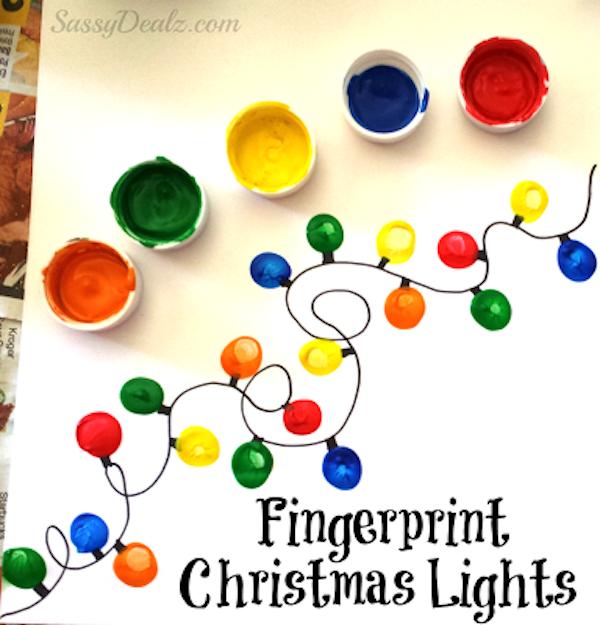 Thumbprint Christmas tree light card